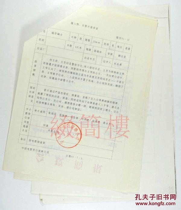 张润昌、刘祥惠、金忠强等人审查  1991年引入 赖汶星执导 香港影片《城市飙女》