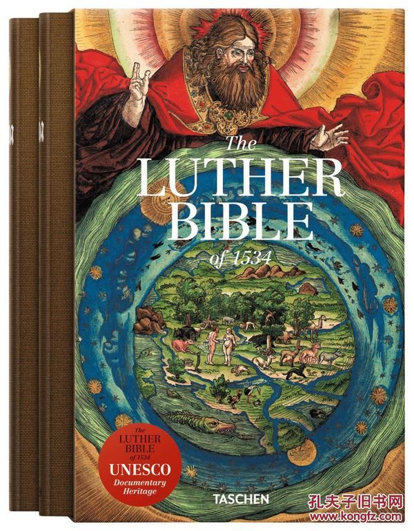 德国原版 The Luther Bibel of 1534 德文花体字 1534年路德圣经艺术 彩色插图 带英语导读 联合国世界文化遗产