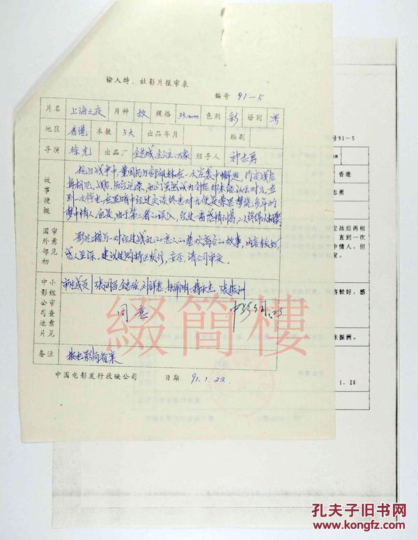 张润昌、刘祥惠、金忠强等人审查  1991年引入 徐克执导 香港影片《上海之夜》