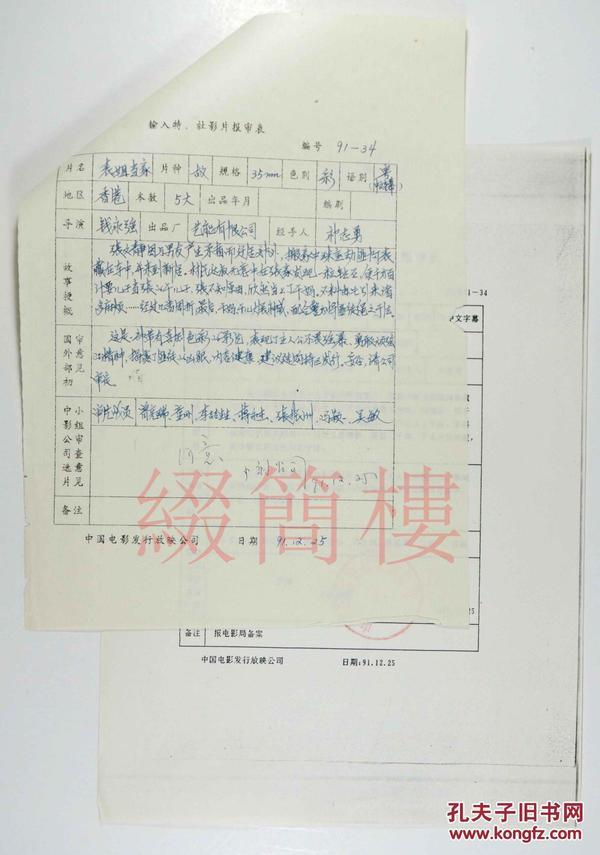 童刚、李哲生等人审查 1991年引入  钱永强 张坚庭执导 香港影片《表姐当家》