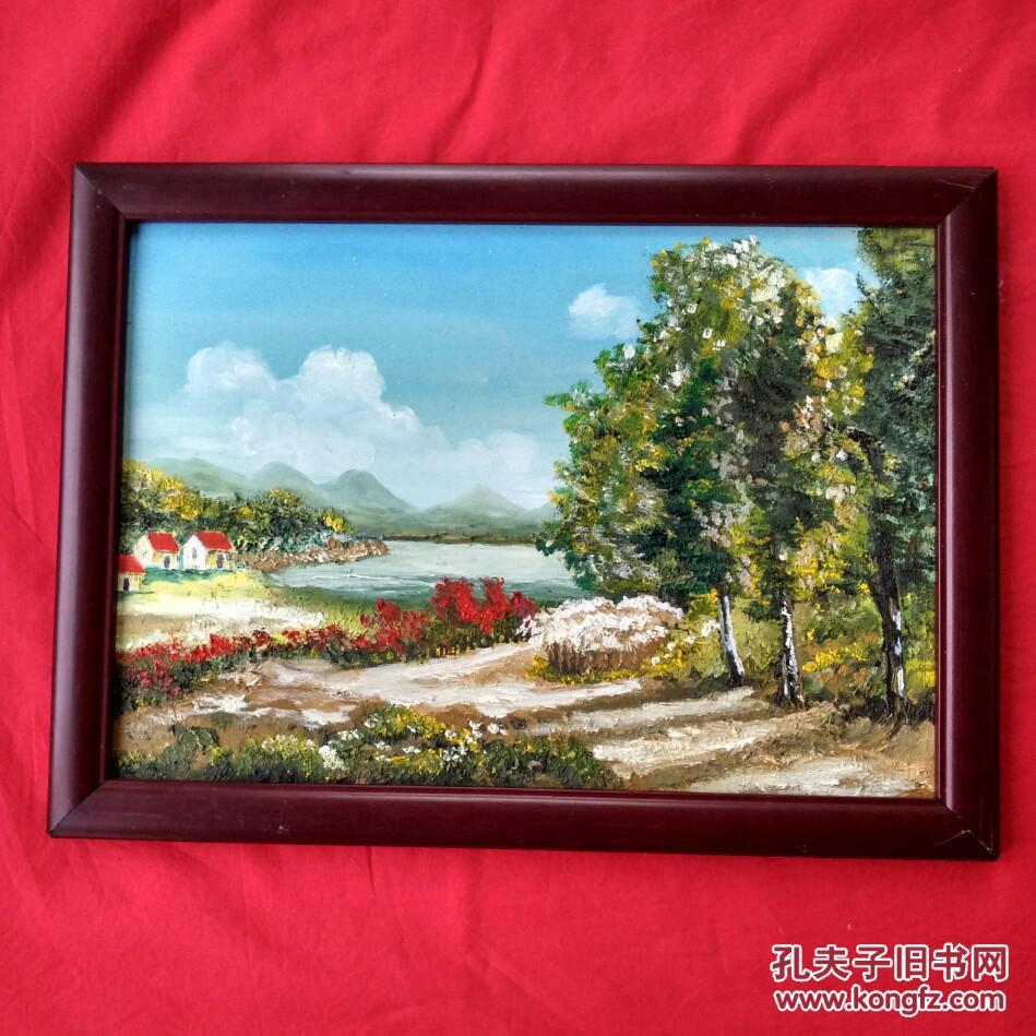 乡村风景画山水画手绘油画装饰装修新居入伙挂画送画框