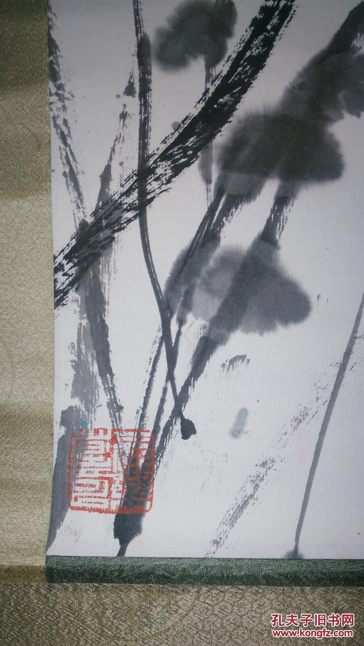 安徽著名已故画家(葛庆友)90x48原装原绫裱花鸟立轴图片
