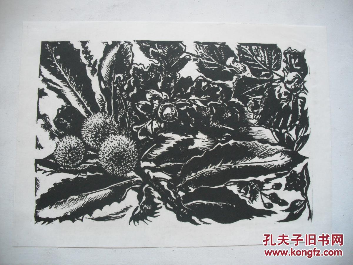 黑白木刻版画 野草莓图片