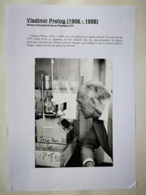 1975年 诺贝尔化学奖得主普雷洛格签名照片 受赠人Yorg Uwe Schmidt