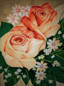 工艺美术师画家刘相如花卉四屛手稿