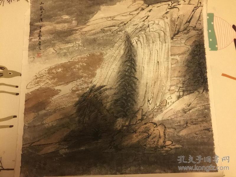 江苏省国画院山水画研究所长,国家一级美术师常进画作斗方。