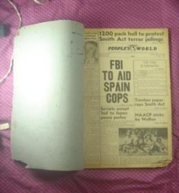 (英文报纸)Daily Peoples World 美国《人民世界日报》合订本(1951年8月14日-9月7日)