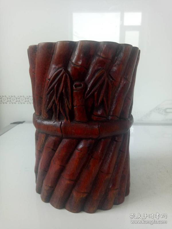 竹笔筒·老笔筒·竹雕一捆竹节节高升竹笔筒·解放期间老物件·文房用品摆件【包老保真】喜欢的不要错过.