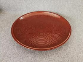 日本回流漆器大丸盆 茶道具