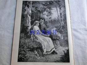 【现货 包邮】1900年木刻版画《在森林小径旁的情侣》(Am waldesrand)  尺寸约41*29厘米 (货号 18022)