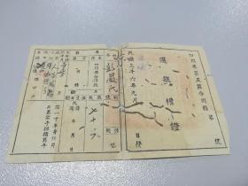 民国36年四川省笫五区合川县选举权证(七十六岁,少见)