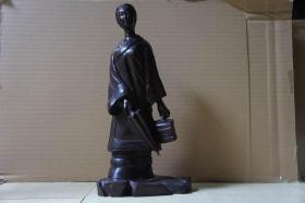 清末民国紫檀雕:少女像