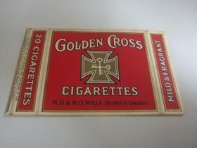 民国烟标:20支横卡--金交叉(拆包)