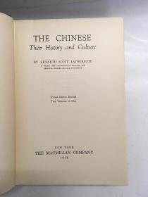 1934年/the chinese their history and culture 中国人的历史文化 /两卷合一