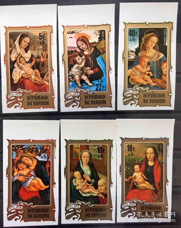 『布隆迪邮票』 1974年  圣诞节  梅林 波提切利 绘画 圣母与子 无齿 6全新