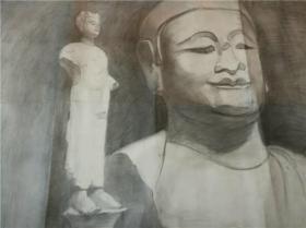 名家老素描-人物与雕塑,有画家签名
