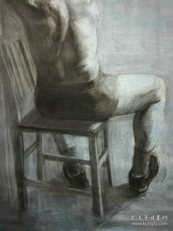 精品人物老素描,背坐的人体,带签名,画面漂亮,品佳