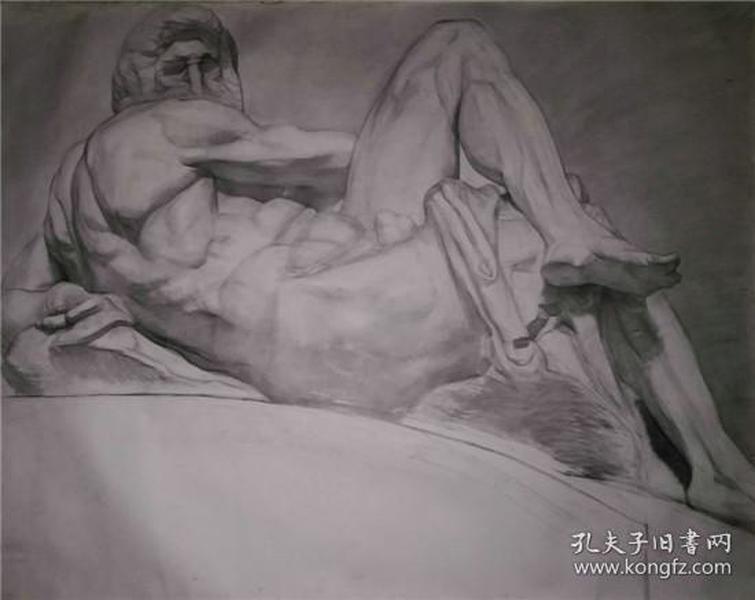 画家大幅老素描-卧着的人体,有画家签名,品好