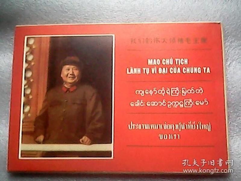 文革画片 1969年《我们的伟大领袖毛主席》一套10张【都是毛主席的】越、缅、泰三种文字