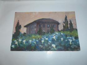 著名油画家顾祝君 早期油画写生:《小楼》