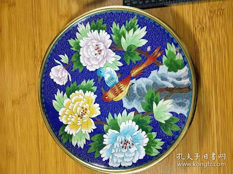 景泰蓝看盘,单丝四色【花开富贵】老工艺抛光,北京老花丝。摆件。详细看图。