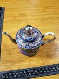 景泰蓝茶壶,鸳鸯花鸟,福寿图。摆件。详细看图.