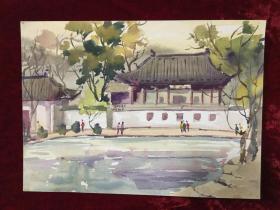 老水彩画《古代戏台》
