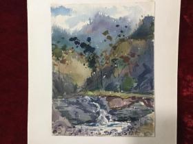 老水彩画《溪水潺潺》