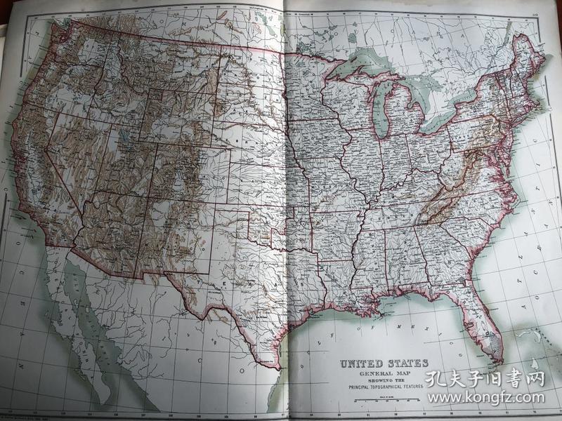 1895年美国地图 65*45cm 非常精美