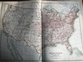 1895年美国铁路路线地图 65*45cm 非常精美
