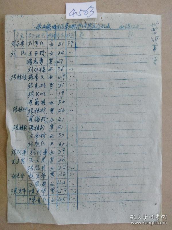 保山县城关区第三街 1956年 选民登记表(手刻油印 4563)