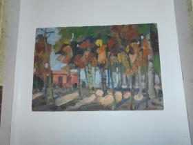 著名油画家顾祝君 早期油画写生:《秋林》
