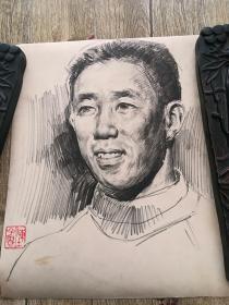 陈子贵素描384(画在一幅大照片的后面)