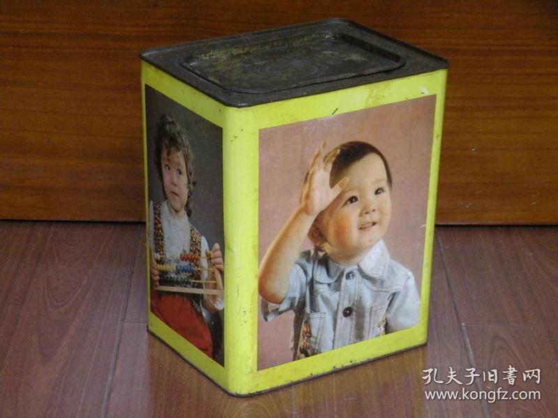 780年代 儿童图案老铁罐 干酵母铁桶 老饼干桶