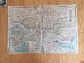 1926年日本出版《东京市全图/最新郊外图》79*54.6厘米 彩印两面印刷