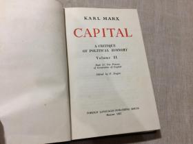 KARL MARX CAPITAL A CRITIQUE OF POLITICAL ECONOMY VOLUME II (32开精装 1957版)