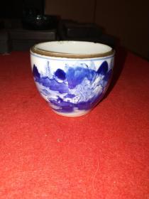 清中期姜太公钓鱼纹青花罐——青花发色纯正,层次感强