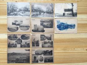 民国日本古旧风景明信片《屋岛百景》《琵琶湖东彦根城名胜游览纪念》等共计10张合售