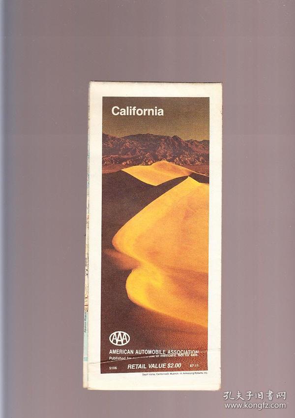 California  美国加利福尼亚原版老地图  一大张