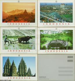明信片-印度尼西亚原版·INDONESIA风光5枚*