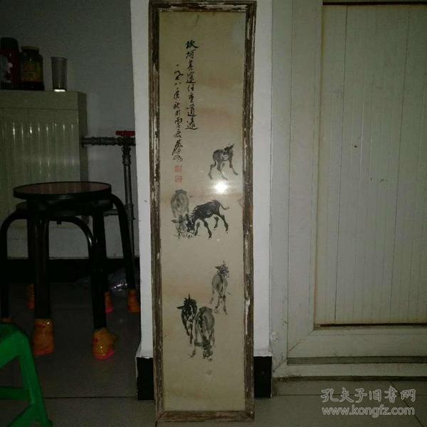 旧藏镜框装裱老驴画一幅,保存完整,包老手绘