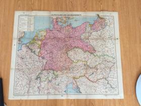【民国欧美地图19】1920年前后德国出版《欧洲地图》折叠大幅彩印