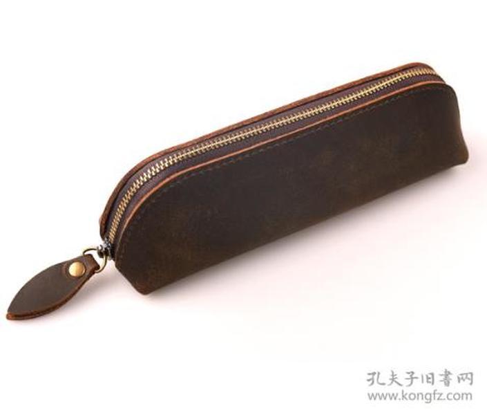 真皮文具袋钱包 牛皮笔袋森系手工复古真皮文具袋钱包
