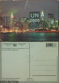 明信片-泰国原版·联合国总部迎千禧夜景*