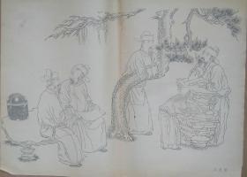 建国初期出版的五代周文矩的《文苑图》名画(400mm×520mm)