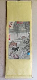 【郎世宁八骏图】织绣书画立轴  台湾中国人造纤维公司制作(约1970-80年代)黄君璧题签   盒装
