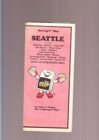 SEATTLE  美国西雅图原版老地图  一大张  内容详细