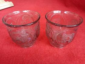 怀旧收藏 七十年代 玻璃罐 玻璃杯 龙凤双喜图案 好品收藏