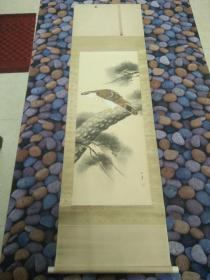 苍鹰日本绢画