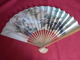竹骨纸扇(80年代)扇面是(俊才作品)黄山飞瀑 国画